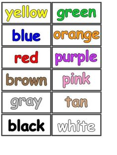 colour name printable Learning English For Kids, Kids English, English Lessons, Teaching English, Learn English, Kids Learning, Preschool Charts, Kindergarten Math Worksheets, Ingles Kids