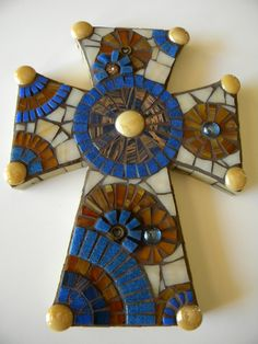 Honey Brown and Royal Blue Mosaic Cross by TheMosartStudio on Etsy https://www.etsy.com/listing/104627642/honey-brown-and-royal-blue-mosaic-cross