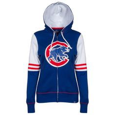 Chicago Cubs Women's Royal, White, and Red Crawl Bear Applique Full-Zip Hoodie by Majestic #Chicago #Cubs #ChicagoCubs