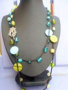 Aqua Marine Multi Strand Crochet Necklace by FleasKnees on Etsy, $22.00