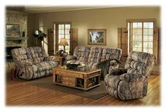 Best Home Furnishings Kipling Furniture Collection Camouflage Furniture Set Camo Living Rooms, Living Room Sets, Furniture Sofa Set, Living Room Furniture, Goods Home Furnishings, Make Arrangements, Furniture Collection, Cabins, 3 Piece