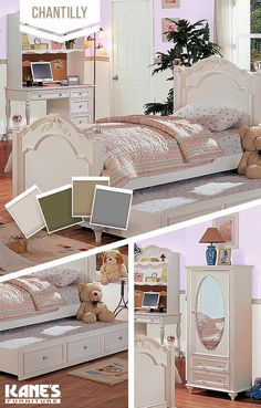 This collection is fit for a princess! The Chantilly bedroom is delicate and youthful, made of hardwood solids with a clean, white finish. The trundle bed has a second pull out mattress below it, perfect for sleepovers. The wardrobe provides ample storage and features a mirror on the front of the door.