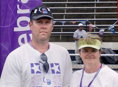 """When Bill Purkes began walking for the 2005 Relay For Life of Trigg County, Kentucky, in memory of his wife, Lori, he wound up next to Patti, who had recently lost her husband, Michael, to cancer, too.  """"I asked if he wanted a partner and we walked the next 10 hours that night,"""" Patti recalled. And they've been walking together, stride for stride, ever since. #100storiesofhope"""