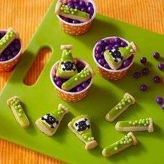 Your little mad scientists will love to help decorate these creepy lab cookies for Halloween. Bake the shaped cookies using the Wilton 9-Cavity Halloween Science Lab Ice and Treat Mold.