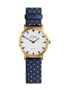 Portland Watch With Ocean Blue Polka Strap//