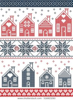 Seamless Scandinavian style and Nordic culture inspired Christmas and festive wi. Seamless Scandinavian style and Nordic culture inspired Christmas and festive winter pattern in cross stitch style with . Cross Stitch House, Cross Stitch Borders, Cross Stitch Charts, Cross Stitch Designs, Cross Stitching, Cross Stitch Embroidery, Cross Stitch Patterns, Knitting Charts, Knitting Stitches