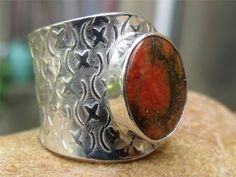 ORANGE COPPER TURQUOISE HANDCRAFTED 925 SILVER RING FREE SIZE JEWELLERY