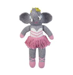 "Blabla Doll - Mini Josephine The Elephant - Handmade by Peruvian Artists - 12"" - All Natural Fibers"