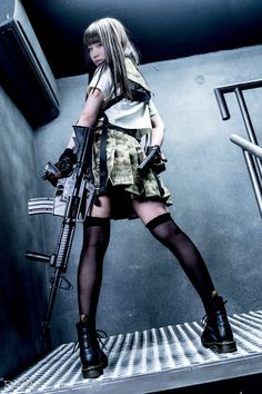Japanese Cosplay Cute Asian Girls With Guns - Japanese Cosplay Armed Schoolgirls - Hot Military Girls Photo And Backgrounds Military girls gallery - photos, wallpapers, facts. Interesting things about women in the m. Female Pose Reference, Pose Reference Photo, Cute Asian Girls, Cute Girls, Emo Girls, Armas Wallpaper, Gunslinger Girl, Cute Japanese Girl, Female Soldier