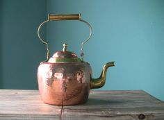 Beautiful Vintage Heavy Duty Hammered Copper Tea Pot-Copper Tea Kettle