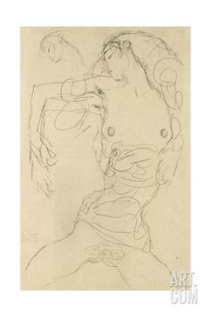 Female Nude with Bent Arm Giclee Print by Gustav Klimt at Art.com