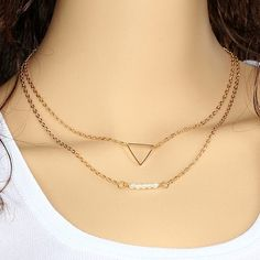 4333841d12f Wholesale Jewelry Casual Metal Chains Bar Double Triangle lariat necklace  Sliver Gold Necklace For Women