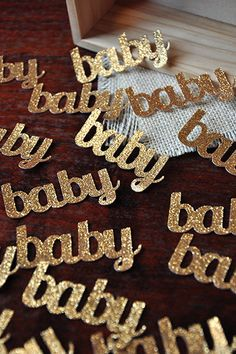 Gold Glitter Baby Confetti for Baby Shower Table by ConfettiMommaParty on Etsy