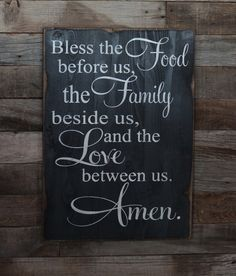 Hey, I found this really awesome Etsy listing at https://www.etsy.com/listing/166851401/large-wood-sign-bless-the-food-before-us