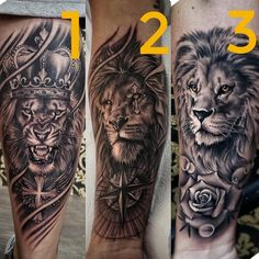 Likes 780 Bewertungen Best Tattoo Styles (Karri Best. Lion Leg Tattoo, Lion Forearm Tattoos, Lion Tattoo Sleeves, Lion Head Tattoos, Mens Lion Tattoo, Forearm Tattoo Men, Lion Tattoos For Men, Calf Tattoo Men, Octopus Tattoos