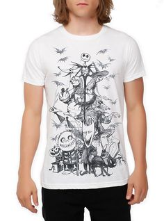The Nightmare Before Christmas Sketch Slim-Fit T-Shirt 2XL,