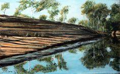 JUAN LUIS OLLEROS Australia. Spring in Northern territory. Acrílico sobre tabla. 51,5 cm x 32 cm.