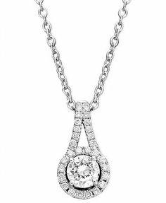 Diamond Necklace, 14k White Gold Diamond Teardrop Pendant (1/3 ct. t.w.)