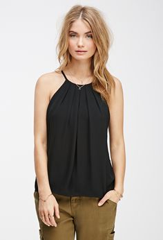 """Pleated-Front Halter Top 