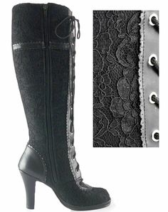 All black-lace overlay with a little punchy bow on the side, tiny victorian oxford hints and a touch of a skull charm on the bow! The Violet Vixen - Ribbons N'Lace Love Boots, $95.00 (http://thevioletvixen.com/shoes/ribbons-nlace-love-boots/)