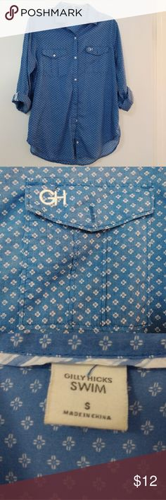 🆕 GILLY HICKS Cute Button Down Shirt New, never worn navy blue button down shirt from Gilly Hicks. Light fabric.  55% cotton, 45% lyocell.  Ideal for summers/warm weather, and as a swim cover up. Gilly Hicks Tops