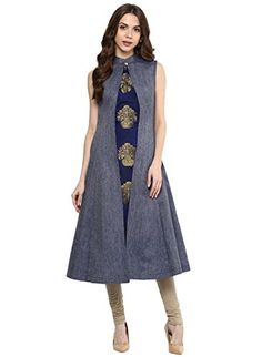 Made from Denim Fabric, Kurti has banded collar With Sleeveless look and Flower Pot design, you will be Center of Attraction Kurti has Calf Length with A-line Pattern. | Extra Fabric for Cap Sleeves is provided along with kurti.