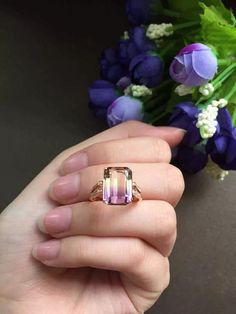 18k gold natural ametrine ring with 20 diamonds, ametrine engagement ring,diamond engagement solitaire ring
