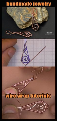 Informations About Handmade copper wire jewelry. Wire Jewelry Earrings, Copper Wire Jewelry, Handmade Jewelry Bracelets, Wire Wrapped Earrings, Jewelry Crafts, Earrings Handmade, Copper Earrings, Pendant Jewelry, Handmade Jewelry Tutorials