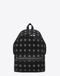 Saint Laurent CLASSIC HUNTING BACKPACK IN Black, Grey And White Bandana Printed Nylon Canvas AND BLACK LEATHER