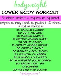 Bodyweight Lower Body Workout Peanut Butter Fingers - Real Time - Diet, Exercise, Fitness, Finance You for Healthy articles ideas Body Workout At Home, At Home Workouts, Beach Workouts, 20 Minute Workout, Tuesday Workout, Biceps And Triceps, Hiit, Workout Bodyweight, Cardio