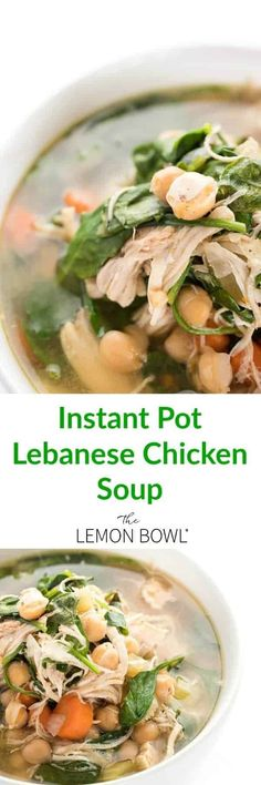 Lebanese chicken soup is ready in no time thanks to the instant pot. Filled with chick peas, lemon juice, cinnamon and spinach. #soup #holidays #comfortfood #easyrecipes #dinner Good Healthy Recipes, Easy Recipes, Healthy Meals, Healthy Eating, Clean Eating, Delicious Recipes, Crockpot Recipes, Tasty Meals, Yummy Food