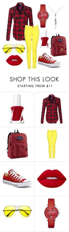 """""""It's Flash-tastic"""" by forever-creating-memories on Polyvore featuring Essie, JanSport, rag & bone, Converse, Lime Crime, ZeroUV, Michele and Allurez"""