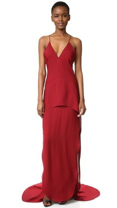 1647d4afe350 Maiyet Long Peplum Gown. Red Ball GownsRed ...