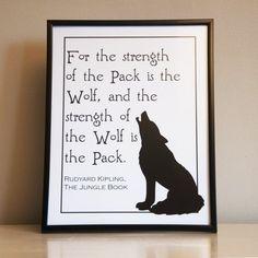 "Rudyard Kipling Jungle Book Wolf Pack Quote Decorative Art Print Instant Digital Download 8"" x 10"" and 8.5"" x 11"""