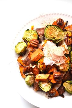 Orange Glazed Brussels Sprouts and Sweet Potatoes are a perfect mix of ...
