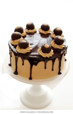 Peanut Butter Ball Cake | Buckeye Cake | by Carrie Sellman for TheCakeBlog.com