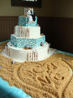 I love this beach themed cake, one of my all time favorite wedding cakes. my-favorite-cakes-from-the-sweet-life-bakery Beach Themed Cakes, Beach Cakes, Themed Wedding Cakes, Cake Wedding, Themed Weddings, Wedding 2017, Wedding Desserts, Wedding Cupcakes, Gold Wedding