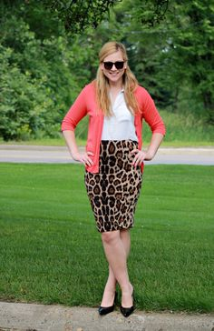 4192b671a Leopard Print Skirt + Coral Cardigan Printed Skirt Outfit, Pencil Skirt  Outfits, Pencil Skirts