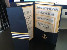 DIY Nautical Invitations and Wedding programs :  wedding nautical invitations program navy and white Front View