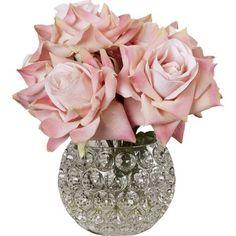 Faux Pink Rose Arrangement in Decorative Vase