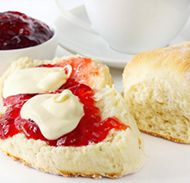 Scones made with green tea for breakfast.