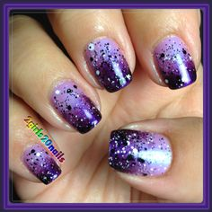 """#chinaglaze """"Tantalize Me"""" sponged with #essie """"Sexy Divide"""" topped with #maybelline """"Clearly Spotted"""". #glossyglam topcoat. #2girls20nails #naturalnails #purple #gradient #nailswag #nails #nailsofinstagram #glitter #polishaholic #instalove #instanails"""