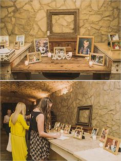 framed family photos at the reception welcome table