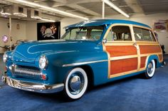 1949 Mercury Woody Wagon, Blue in Color. Vintage Cars, Antique Cars, Station Wagon Cars, Woody Wagon, Shooting Brake, American Classic Cars, Ford Lincoln Mercury, Car Restoration, Old Cars