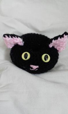 Black Cat donut pin cushion, black cat fun donut decoration, crocheted cat donut by Stewscraft on Etsy