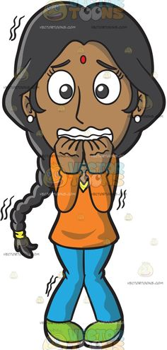 A Horrified Indian Woman :  An Indian girl with braided black hair wearing an orange long sleeved blouse sky blue pants green shoes white pearl earrings a red dot on her forehead bites her teeth as she shakes uncontrollably in terror  The post A Horrified Indian Woman appeared first on VectorToons.com.