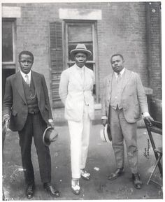 "Marcus Garvey with Prince Kojo Tovalou-Houenou of Dahomey, called the ""Garvey of Africa"", and George O. Marke. 1924  Part of the set Famous Faces in Black History.   For more on the African American experience visit Discover Black Heritage."