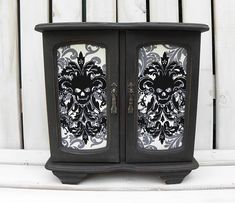 Large Gothic Vintage Jewellery Box / Armoire Painted in Graphite with Grey /Black Damask Skull Print Fabric. Jewellery Boxes, Vintage Jewellery, Armoire Cabinet, Graphite Chalk Paint, Shabby Chic Vintage, Jewelry Box Makeover, Large Jewelry Box, Skull Print, Jewelry Armoire