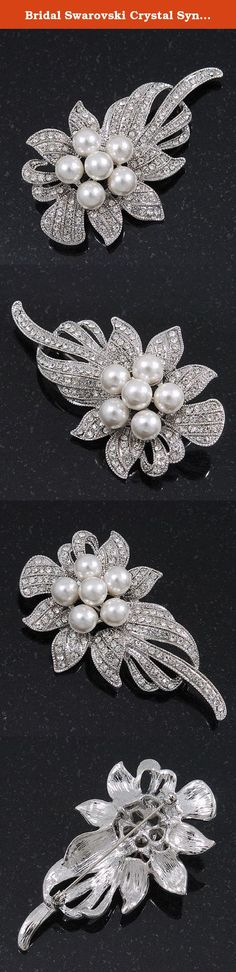 Bridal Swarovski Crystal Synthetic Pearl Floral Brooch In Rhodium Plating - 7cm Length. Corsage favourite blouses, scarves, jackets, handbags and more with a blooming accessory. White coloured synthetic pearls and clear Swarovski crystals glisten on this pretty piece's surface, and make perfect for perking up favourite outfits. The brooch crafted in rhodium plated metal and measures about 7cm x 4cm, fastens with a pin and revolver clasp. This product does not contain any natural pearls.