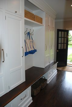 Mud Room - Cubbies with electrical outlets inside, so everyone can charge their ipods, phones, etc...out of sight.